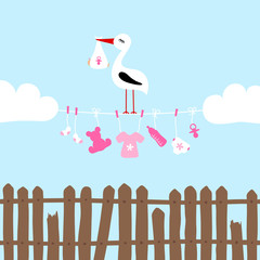 Stork On Clothes Line Baby Symbols Girl Clouds Fence