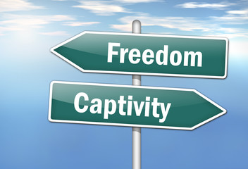 "Signpost ""Freedom vs. Captivity"""