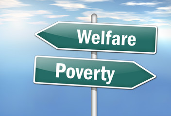 "Signpost ""Welfare vs. Poverty"""