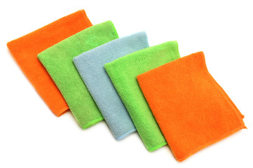 Colorful cloths microfiber isolated on white