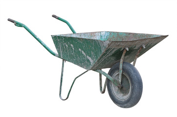 Old wheelbarrow isolated on white background