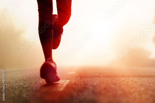 canvas print picture Athlete running road silhouette