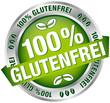 """Button Banner """"100 % Glutenfrei"""" grün/silber"""