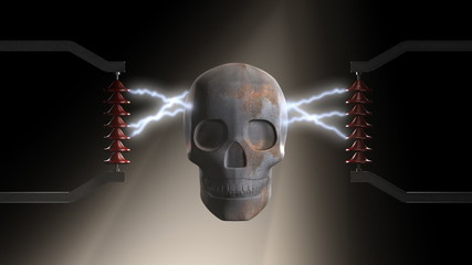 A skull made of rusty metal is zapped by electric sparks.