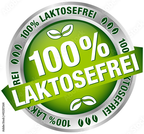 """Button Banner """"100 % Laktosefrei"""" grün/silber"""