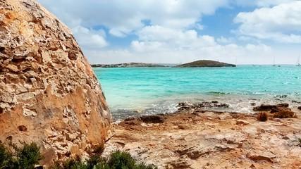 mediterranean Balearic beach view in Formentera
