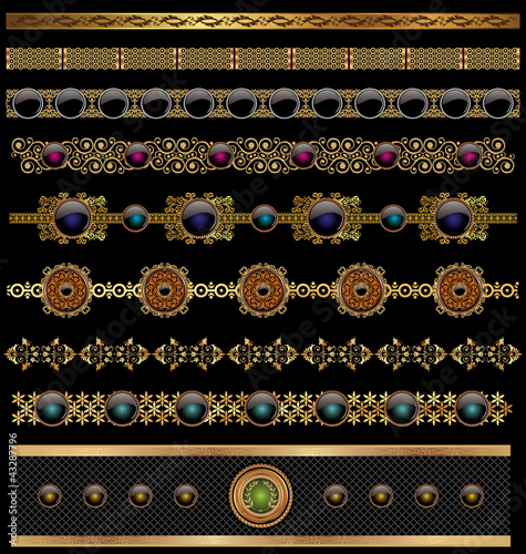 Vector set of golden ornate border set for design