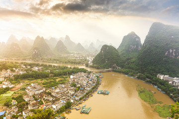 beautiful scenery of chinese yangshuo