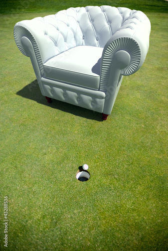 Club armchair in a golf green