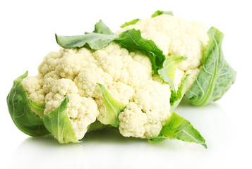 Fresh cauliflowers isolated on white