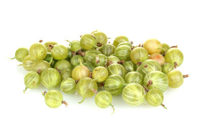 Green gooseberry isolated on white