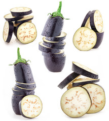 Collection of Eggplant sliced on white background