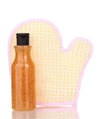 Bottle with scrub and sponge isolated on white