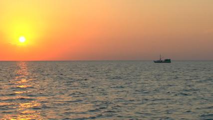 Sunset and fishing boat, Cuba