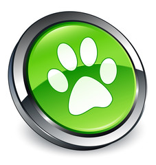 Animal footprint icon 3D green button
