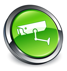 CCTV camera icon 3D green button