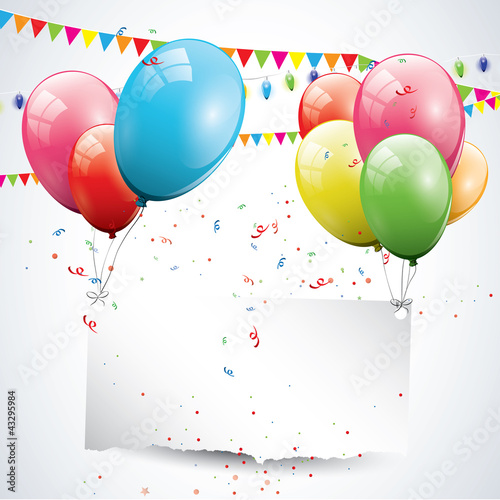 Modern birthday background with balloons and place for text