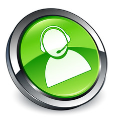 Customer care icon 3D green button