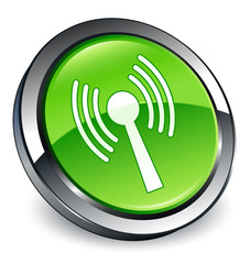 Wlan Network icon 3D green button