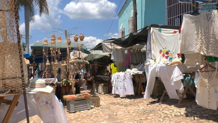 Souvenir shops on streets of Trinidad, Cuba