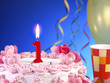 Birthday cake with red candles showing Nr. 1
