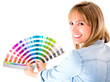 Woman choosing color to paint