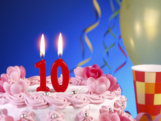 Birthday cake with red candles showing Nr. 10