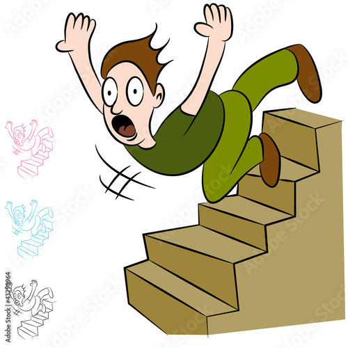 Man Falling Down Flight of Stairs