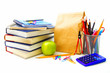 Group of various school supplies and items