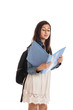 Preteen schoolgirl looking at folder