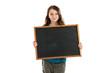 School girl holding blank chalkboard