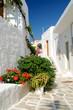 Greek quiet village backstreet in Cyclades islands