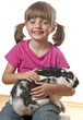 happy little girl and rabbit white background