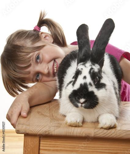 little girl and rabbit portrait