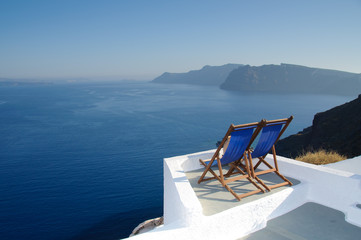 Relaxing in Santorini, Greece