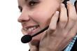 Brunette wearing telephone head-set