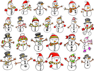 Christmas Holiday Snowman Vector Set