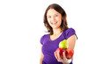 Healthy eating - woman with apples and pear