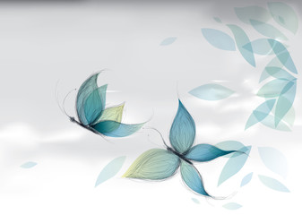 Azure Butterflies on the sky / Vector sketch