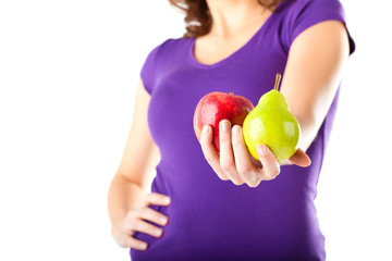 Healthy diet - Woman with apple and pear