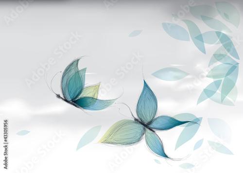 Azure Butterflies on the sky / Vector sketch