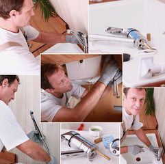 Montage of a plumber installing a kitchen sink