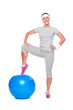 active woman posing with blue ball