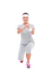 smiley pretty woman doing aerobics