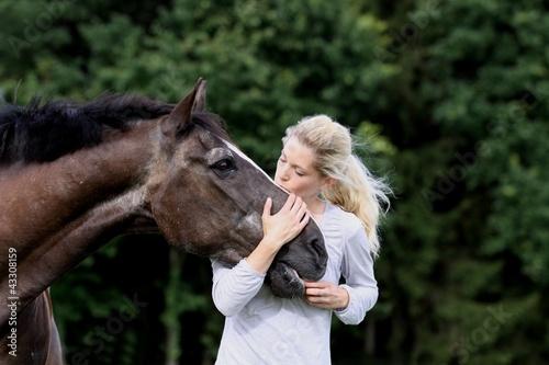 Leinwandbild Motiv frau + pferd