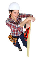 beautiful female carpenter