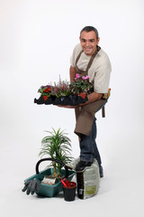 Male gardener in studio