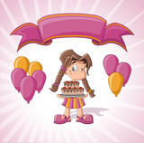 Cute girl with birthday cake, balloons and pink ribbon