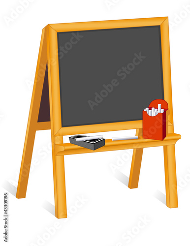 Child's Blackboard Wood Easel, chalk box, eraser, copy space.