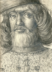 Renaissance nobleman, pencil technique